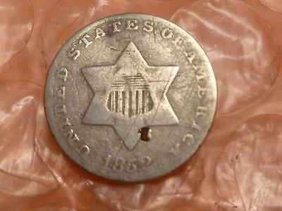 1852 Trime 3 Cent Silver Coin Tiny Hole