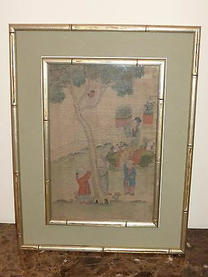 Vintage Chinese Peeing Boy Framed Painting on Silk