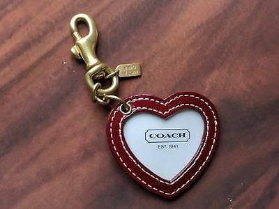 NEW COACH Authentic Leather Heart Shaped Photo Frame Key Ring Bag Charm