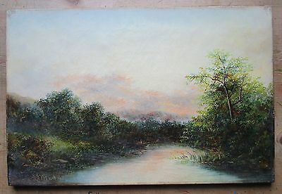 Original Antique 19th Century River Landscape Oil-Man in Boat Fishing-Signed