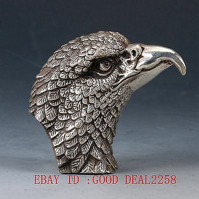 Chinese Silve Copper Handwork Carved Eagle Head Statue  QW0130