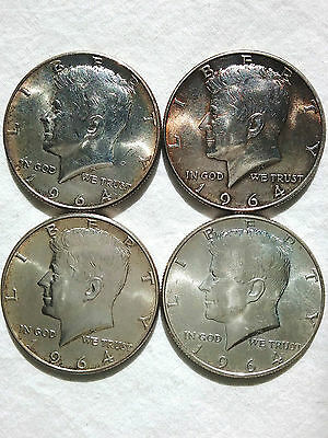 4 1964-P Silver Kennedy Half Dollars Philadelphia Mint - Ungraded AU!