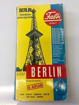 Beautiful condition BERLIN GERMANY MAP 1978 Height of Cold War West East Vintage