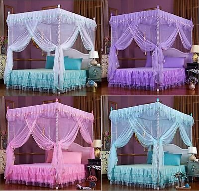 Lace Flowers 4 Corner Post Bed Canopy Mosquito Netting Twin Queen King Sizes