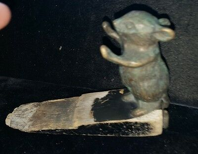 "VINTAGE ANTIQUE CAST METAL &  WOOD MOUSE DOOR STOPPER STOP OLD 4"" H x  6 1/2"""