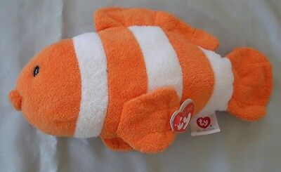 Ty Beanie Pluffies - Gilly The Clown Fish  - Machine Washable New With Tag