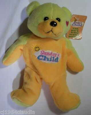 """Gifted Bears By Skansen The Day You Were Born """" Sunday's Child""""  New"""
