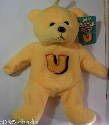 """Gifted Bears By Skansen """"my Letter Bear""""  Letter """"u""""  New (Tag Stain)"""
