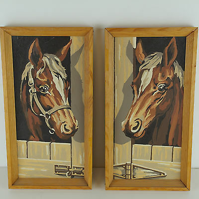 Vintage Paint by Number Pair of Horse Framed Paintings in Stable