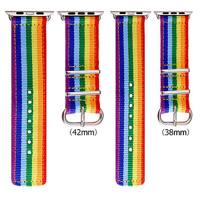 Nylon Strap Sport Wrist Band LGBT Rainbow Denim Bracelet for Apple Watch 38/42mm