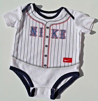 Nike Infant Boys Bodysuit Baseball Graphic One Piece Size 0-3M 100% Soft Cotton