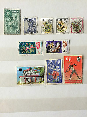 FIJI small group of 10 used stamps.