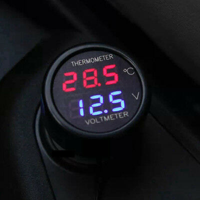 LED Display Car Battery Electric Thermometer  Voltmeter Voltage Meter DC 12V-24V