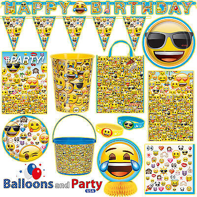 Emoji Emoticon Childs Birthday Party Tableware Decorations Supplies