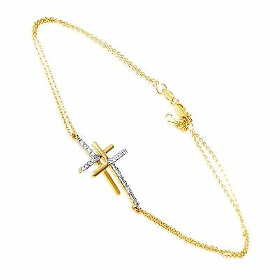 14K Yellow Gold Diamond Two Cross Bracelet with 0.15 Carat (0.15 ctw) Brillia...