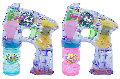 Bubble Gun Shooter Lights & Music & Solution - Garden Kids Childrens Party Toy