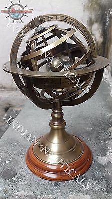 "8.5"" Engraved Brass Tabletop Armillary Nautical Sphere Globes -World Globe IxN"