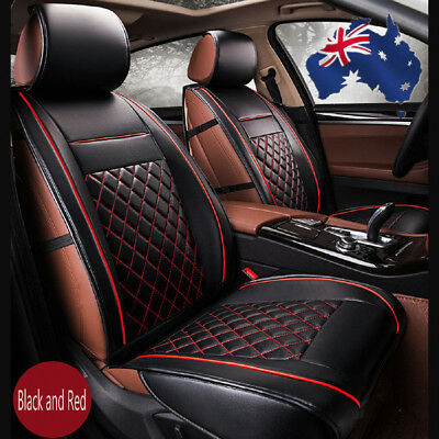 AU 2 x 3D Car Front Seat Cushion Black&Red PU Leather Covers Universal Car Auto