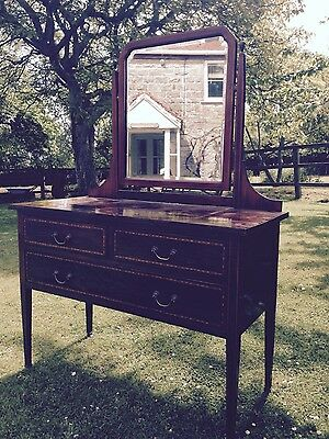 Edwardian Dressing Table - Oak with Mirror - Antique [reserve price reduced]