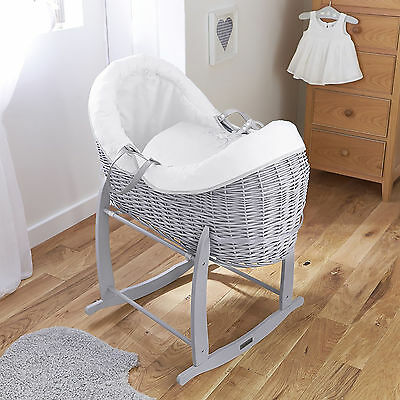 4Baby White Shooting Star Grey Wicker Crossover Noah Pod Moses Basket & Stand
