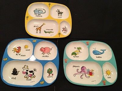Baby Cie Divider Plates FARM AND ZOO ANIMALS & SEALIFE Lot Of 3