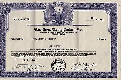 Lena Horne Beauty Stock Certificate