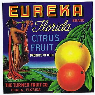 Eurika, original florida orange crate label, native america indian, turner fruit