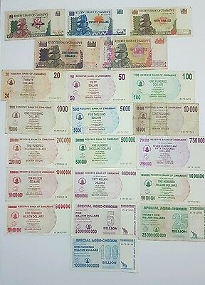 Zimbabwe Lot of 21 Mixed Prefix Banknotes 1980-2008 **PREFIX COLLECTORS**