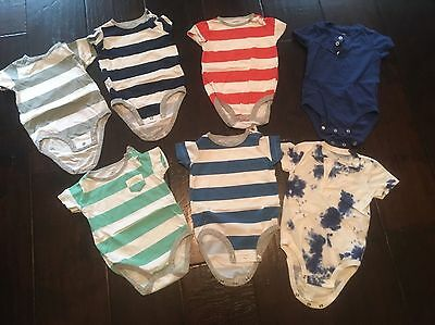 Lot Of 7 Carter's Baby Boy One Piece Bodysuit Size 9 Months
