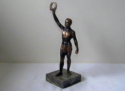Vintage Bronzed Olympian Athlete Laurel Wreath Brass Statue Green Marble Base
