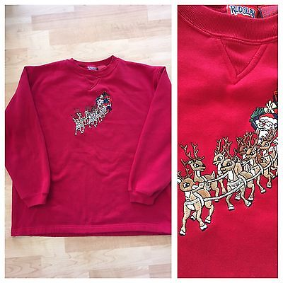 VTG 80 Rudolph The Red Nose Reindeer & Santa Sweatshirt Womens SZ L Ugly Sweater