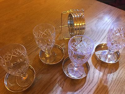 SET of EIGHT CRYSTAL STERLING SILVER COASTERS IN NICE STERLING SILVER CADDY