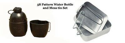 British Army Cadet Camping Fishing 58 Pattern Water Bottle & Mess Tin Set - Used