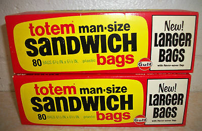Two (2) Boxes of Vintage GULF OIL Totem Man-Size Sandwich Bags - New, Old Stock