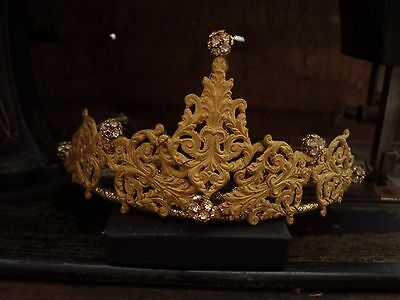 Vintage Jewellery Antique Matt Gold Filigree Tiara with Clear Crystals