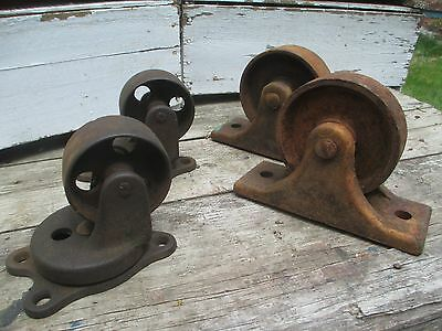 4 Vintage Mill Cart Wheels - 2 Swivel & 2 Fixed - Industrial Furniture RePurp
