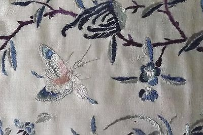 Antique Chinese Cream Silk Hand Embroidered Panel