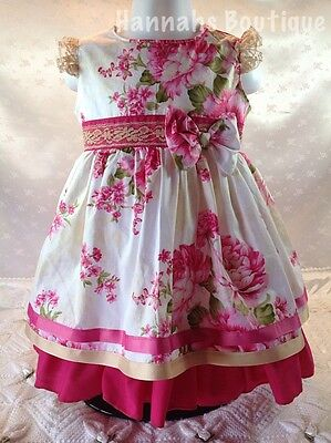 Hannahs Boutique 9-12 Mth Spanish Traditional Pink Floral Summer Lined Dress