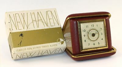 NEW HAVEN BON VOYAGE No. 411 RED TRAVEL CLOCK - WANTS TO RUN - TR10