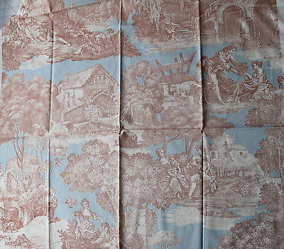 1 1/2 yd 1940's cotton fabric, 18th c style toile pattern, pastoral scenes