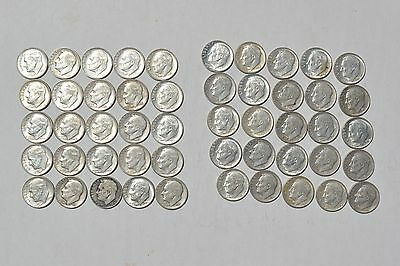1 Roll Of 50 90% Silver Roosevelt Dimes - Various Dates - Conditions