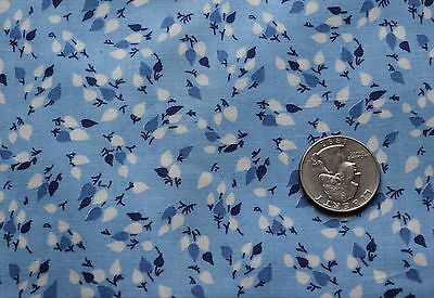 1 yd 1920's cotton fabric, light blue with tiny white leaves