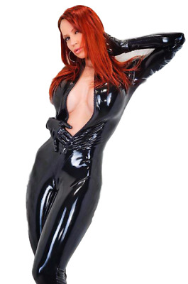 Sexy Women Faux Leather Catsuit Lingerie