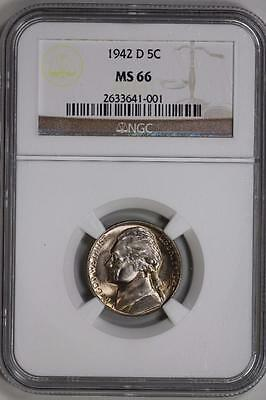 1942 D Jefferson Nickel MS66 NGC United States Mint Coin