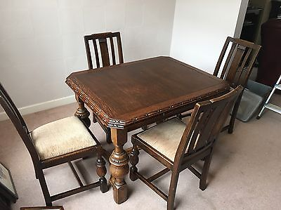 Antique Dining Table And 4 Chairs Dark Oak Extends To Seat 6