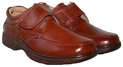 Mens Black And Brown Cushionwalk Slip On Shoe With Touch Close Bar Strap Size 7-