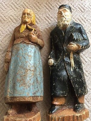 antique Hand Carved Wood carving Figurines Folk Art Man Woman• Book In Arms