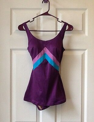 Vintage 1950's Swimsuit - Pin Up Bombshell 50s - Sz 12 Medium Purple Swim VTG