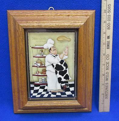 Fat Chef Framed Picture Print Cartoon Tossing Dough Baker Solid Oak Frame 10""