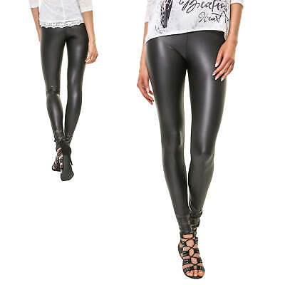 Pieces Damen Leggings Skinny Fit Leder Look Stretchhose Damenhose Stretch NEU
